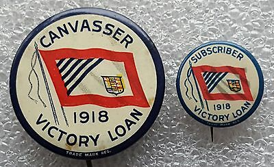 Canvasser - Subscriber - 1918 Victory Loan - WWI CEF - Pinback Button - Canadian