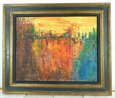 VINTAGE ABSTRACT MODERNIST OIL PAINTING MID CENTURY MODERN Signed 1962