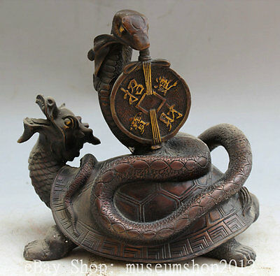 """8"""" Old Chinese Fengshui Bronze Wealth Snake Dragon tortoise Turtle Coin Statue"""