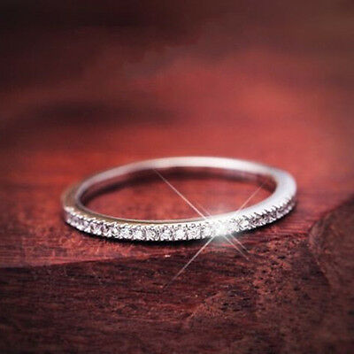 Ultra-fine Tail Ring 925 Silver Women Wedding Party CZ Engagement Band Size 4-9