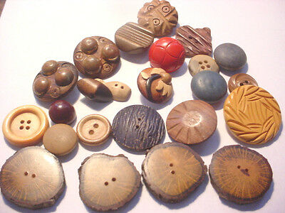 24 Vintage Wood Buttons