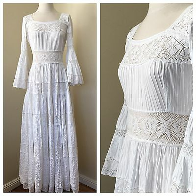 Vintage 60's 70's White Mexican Wedding Dress   Pintucked   Crochet Lace   S