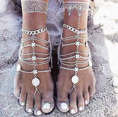 Punk Retro Beach Metal Coin Foot Ornaments Multi-Layer Chain Tassel Anklets