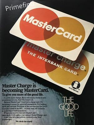 1980 MASTER CHARGE is Becoming MASTERCARD Historic Moment  Original PRINT AD