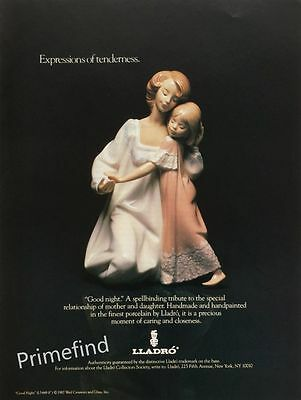 1988 LLADRO Porcelain GOOD NIGHT Mother & Daughter Relationship PRINT AD