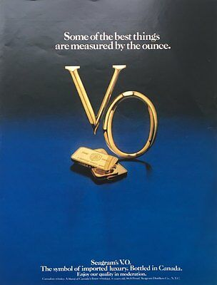 1980 SEAGRAM'S V.O Whisky Best Things Are Measured by Ounce  Original PRINT AD