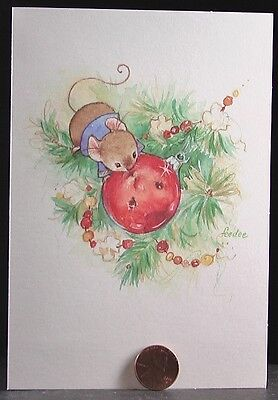 VINTAGE Christmas Cute Mouse See Reflection On Ornament  Hallmark Card NEW