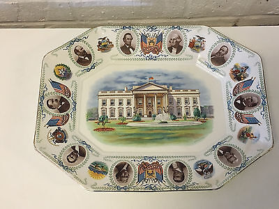Antique American Pottery Presidential Platter Tray W.E, Graves Patent 1910