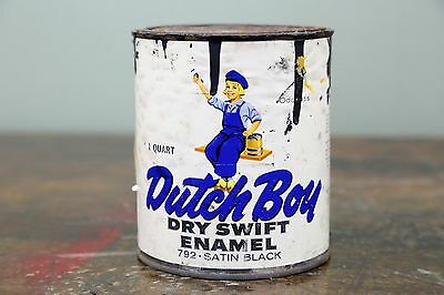 1950s DUTCH BOY Dry Swift Enamel 1 Quart Advertising PAINT Can Vintage Old