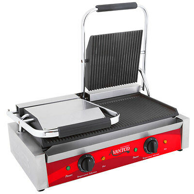 Avantco Commercial Dual Panini Grill Sandwich Electric Restaurant Equipment