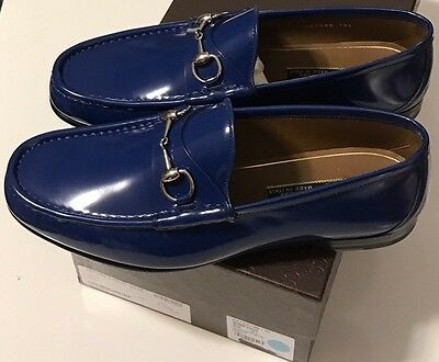 NIB GUCCI Men's 387598 SHADE LUX ROYALE BLUE LEATHER LOAFER DRESS SHOES US 11