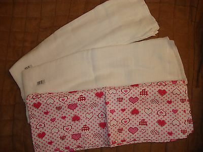Baby Cotton Muslin Swaddle Blankets Gauze Wrap Wiping Cloths NEW - Set of 3