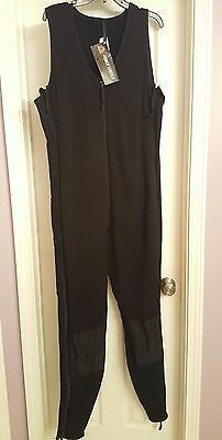 Mens Large Long Polartec Power Stretch Mid Weight Black Sleeveless Union Suit