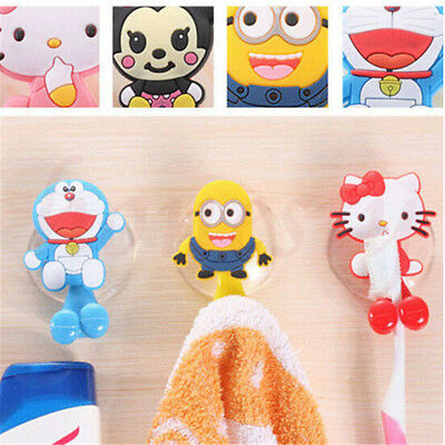 Cute Cartoon Family Toothbrush Holder Mount With Suction Grip Wall Rack Bathroom
