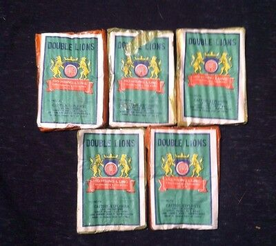 Double Lions Vintage Advertising Japanese Fire Works Decoration --Lot of 5--