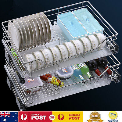 2 Layers Pull Out Pantry Drawer Basket Wire Slide Wardrobe Storage Cabinet 700MM
