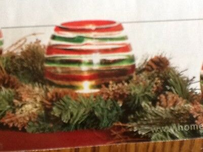 Glass Swirl Candleholder and pine candle ring Vintage Home Interiors Gifts GTC