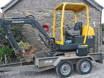VOLVO EC15B MINI DIGGER & PLANT TRAILER  1.5t 3 buckets suit dumper finance
