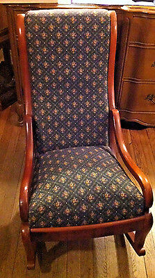 Antique Victorian Blue Pattern Upholstery Cushioned Nursing Rocking Chair Rocker