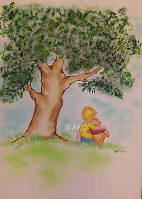 "Nursery Picture*Winnie the Pooh*Teddy Bear/Baby Room Decor* by Artist 9""x12"""