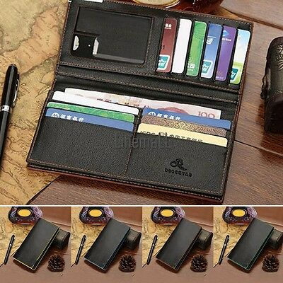 Mens PU Leather Wallets Bifold Long Clutch Credit Card Coin Holder Purse LM