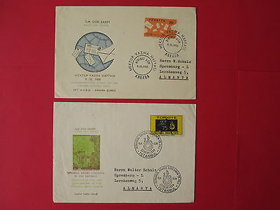 TURKEY 2 covers 1958 1959 FDC to GERMANY letter istanbul lyceum stamps