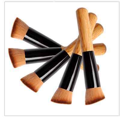 Pro Flat Angled Foundation Powder Makeup Wooden Brush Liquid Contour Bronzer !!!