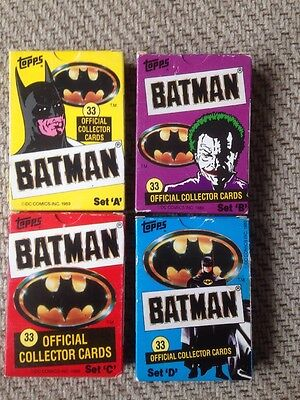 Topps 1989 Batman Official Collector Cards Set A B C D 33 Cards In Each Pack