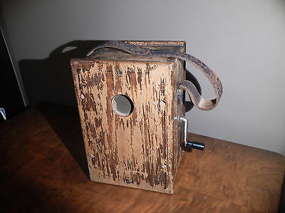 Antique Dean Electric Company Hand Crank Wooden Portable Telephone