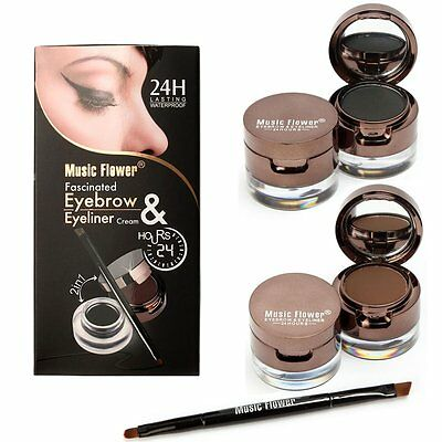 2in1 Brown+Black Eyeliner Gel & Eyebrow Powder Makeup Waterproof Set with Brush
