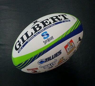 Gilbert Super Rugby Official All Team Logo Full Size 5 Rugby Union Ball *NEW*