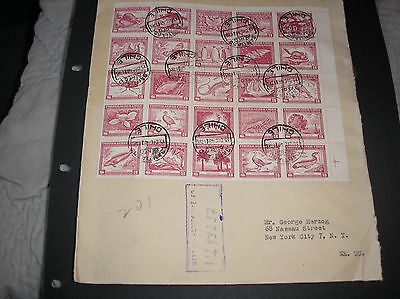 Chile 1948 air cover superb franking animals block of 25