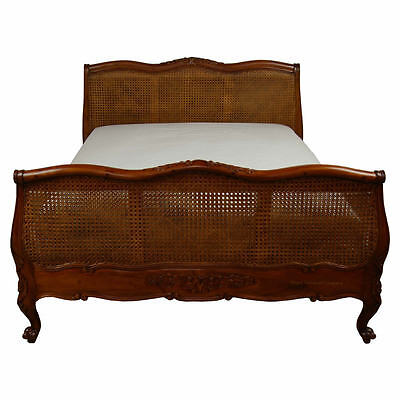 French Bed - Caned Panels - Mahogany - Double Size 4ft 6 - New