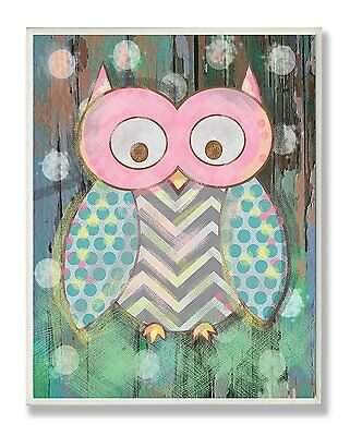 The Kids Room by Stupell Distressed Woodland Owl Rectangle Wall Plaque