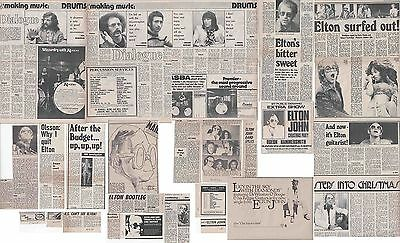 ELTON JOHN : CUTTINGS COLLECTION -adverts interviews- 1970s