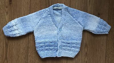 New Hand Knitted Baby Boy Cardigan In Blue Mix Yarn - 0-3 Months