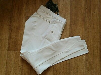 "Mark Todd Mens MT Pleated Mens 802568 Breeches in White 34"" Regular"