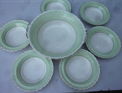GRINDLEY CREAMPETAL 6 Small dessert Bowls 1 Large serving bowl Shabby chic vgc