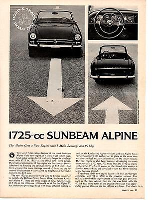 1966 Sunbeam Alpine 1725-Cc  ~  Original 3-Page Road Test / Article / Ad