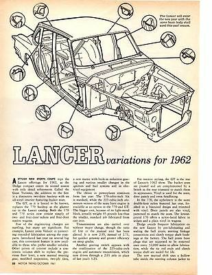 1962 Dodge Lancer Gt ~ Original 2-Page New Car Preview Article / Ad
