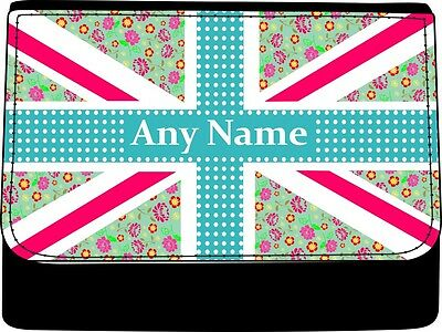 PERSONALISED FLOWERY UNION JACK PRINT LADIES FAUX LEATHER PURSE GIFT BIRTHDAY