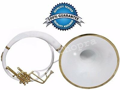 """Sale Sousaphone Painted White 21"""" Bell Bb 3V BAG n MOUTH PIECE"""