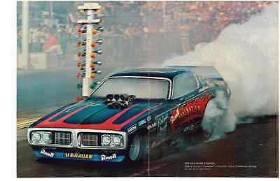 1973 Charger Funny Car - Roland Leong  ~  2-Page Magazine Photo / Picture / Ad