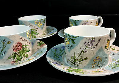 4 Royal Doulton Everyday WildFlowers Teacups Saucers Plates Tea Cups