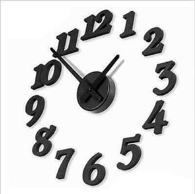 New 3D DIY Clock Adhesive Decal Modern Wall Digit Number Room Interior Deco