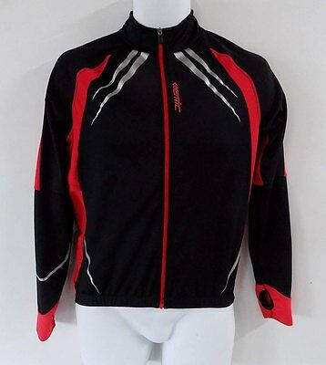 Mens Santic Cycling Jersey Top Size S Black Red Trim Zip Up Chest Logo