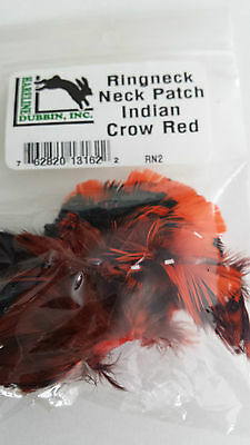 """HARELINE   RINGNECK NECK PATCH  """"Indian Crow Red"""" FLY TYING  streamer,wet,salmon"""