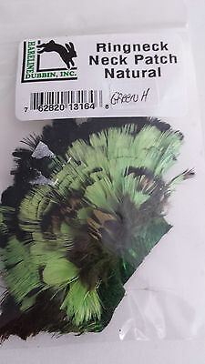 """HARELINE   RINGNECK NECK PATCH  """"Green """" FLY TYING  streamer,wet,salmon"""