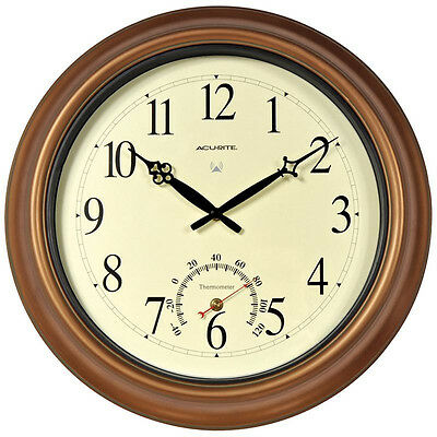 """AcuRite - 50314A1 - 18"""" Copper Indoor Or Outdoor Atomic Clock With Thermometer"""