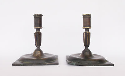 Rare Antique 17Th Century Brass Square Base Pair Of Candle Holders/candlesticks